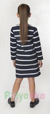Wanex Платье с длинным рукавом для девочки в полоску бело-синее с пайетками - Картинка 2