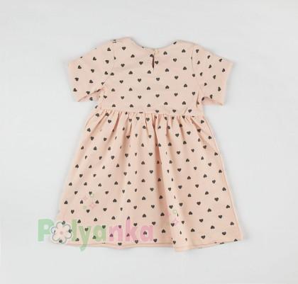 Wanex Платье с длинным рукавом для девочки персиковое в сердечках - Картинка 5
