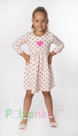 Wanex Платье с длинным рукавом для девочки персиковое в сердечках - Картинка 1