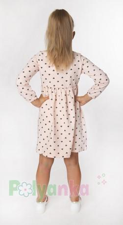 Wanex Платье с длинным рукавом для девочки персиковое в сердечках - Картинка 2