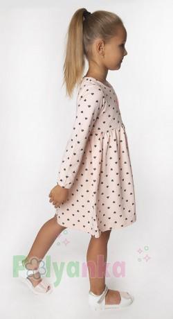Wanex Платье с длинным рукавом для девочки персиковое в сердечках - Картинка 3