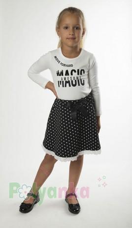 Wanex Костюм для девочки белый лонгслив и чёрная юбка в белый горох - Картинка 1