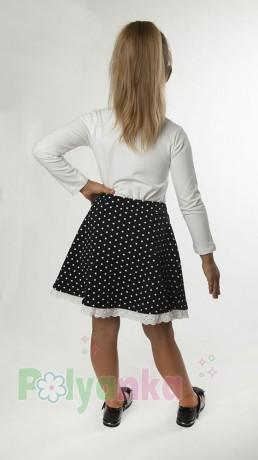 Wanex Костюм для девочки белый лонгслив и чёрная юбка в белый горох - Картинка 2