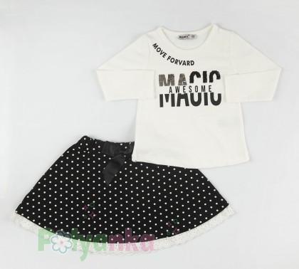 Wanex Костюм для девочки белый лонгслив и чёрная юбка в белый горох - Картинка 3