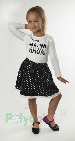 Wanex Костюм для девочки белый лонгслив и чёрная юбка в белый горох - Картинка 6