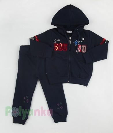 Wanex Спортивный костюм для девочки синий с пайетками-перевёртышами - Картинка 5