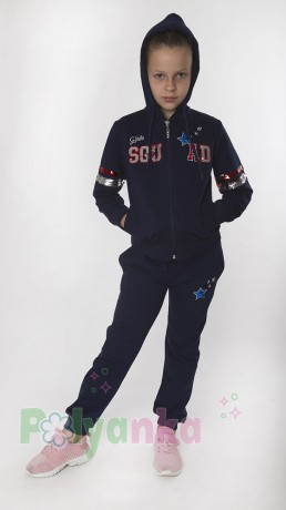 Wanex Спортивный костюм для девочки синий с пайетками-перевёртышами - Картинка 2