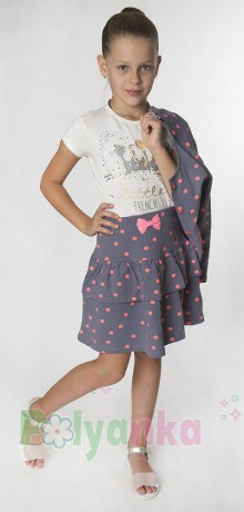 Wanex Костюм для девочки  в горох серый - Картинка 2