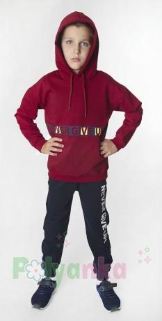 """Wanex Спортивный костюм для мальчика """"Never give up! бордовый +чёрный - Картинка 2"""
