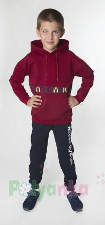 """Wanex Спортивный костюм для мальчика """"Never give up! бордовый +чёрный - Картинка 1"""
