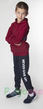 """Wanex Спортивный костюм для мальчика """"Never give up! бордовый +чёрный - Картинка 4"""
