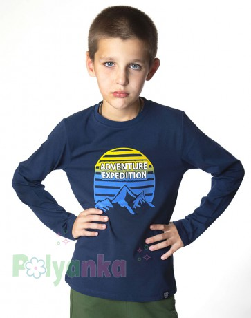 Wanex Футболка с длинным рукавом для мальчика синяя с принтом  - Картинка 1