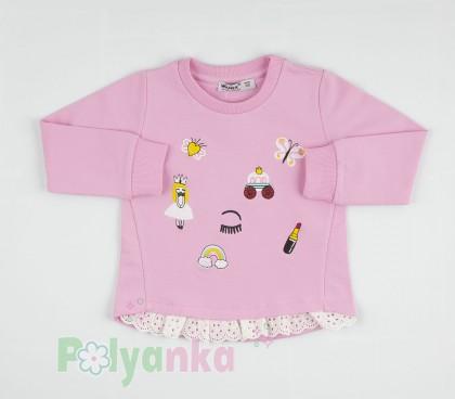 Wanex Свитшот детский с аппликацией  и рюшами розовый - Картинка 1