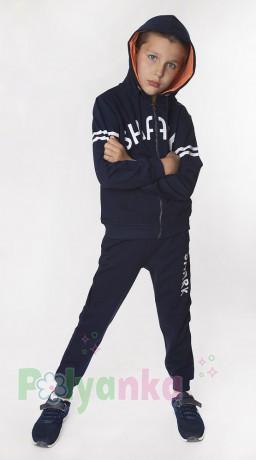 """Wanex Спортивный костюм для мальчика """"Shark"""" синий с капюшоном - Картинка 1"""