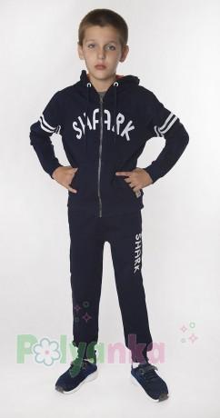 """Wanex Спортивный костюм для мальчика """"Shark"""" синий с капюшоном - Картинка 4"""