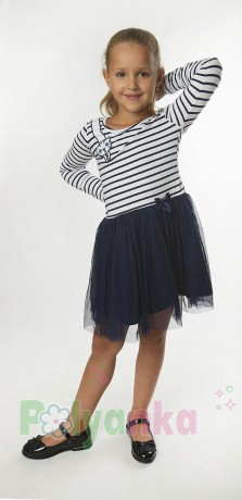 Wanex Платье с длинным рукавом детское в полоску с кошкой на плече и фатиновой юбкой - Картинка 1