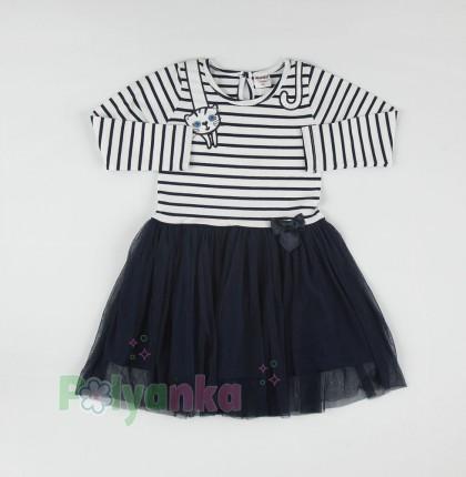 Wanex Платье с длинным рукавом детское в полоску с кошкой на плече и фатиновой юбкой - Картинка 3