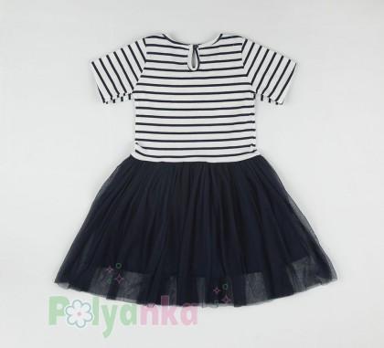 Wanex Платье с длинным рукавом детское в полоску с кошкой на плече и фатиновой юбкой - Картинка 4