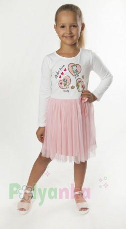 Wanex Платье детское с длинным рукавом белое с единорожками и розовой фатиновой юбкой - Картинка 1