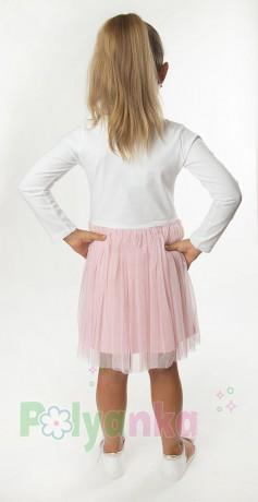 Wanex Платье детское с длинным рукавом белое с единорожками и розовой фатиновой юбкой - Картинка 2