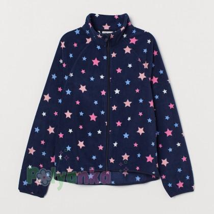 H&M Флисовая кофта для девочки синяя со звёздами - Картинка 1