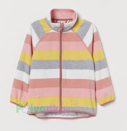 H&M Детская кофта флисовая в полоску разноцветная - Картинка 1