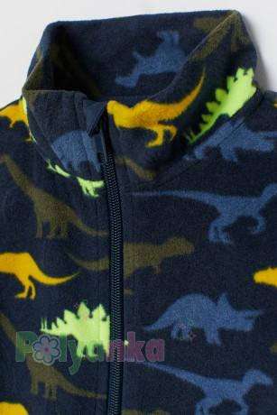 H&M Детская кофта флисовая синяя с динозаврами  - Картинка 2