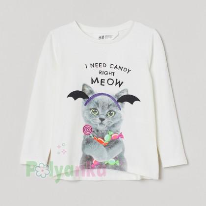 H&M Футболка с длинным рукавом для девочки белая с котиком - Картинка 1