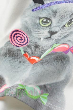 H&M Футболка с длинным рукавом для девочки белая с котиком - Картинка 2