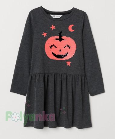 H&M Платье с длинным рукавом для девочки серое с тыквой - Картинка 1