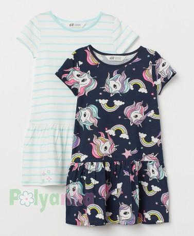 H&M Комплект платьев детский с единорогами - Картинка 1