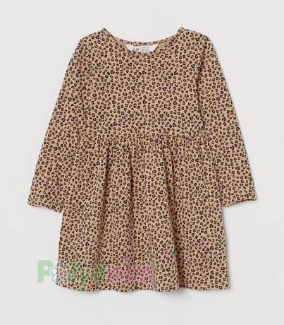 H&M Платье с длинным рукавом для девочки леопардовое - Картинка 1