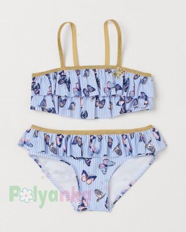 H&M Купальник для девочки бело-голубой с бабочками - Картинка 1