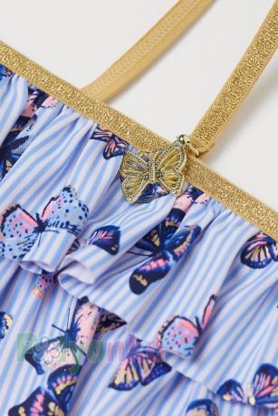 H&M Купальник для девочки бело-голубой с бабочками - Картинка 2