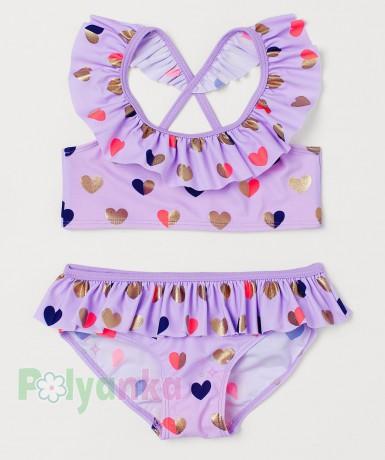 H&M Купальник для девочки фиолетовый с сердечками - Картинка 1