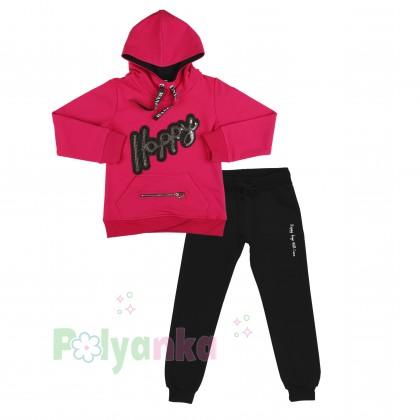 Wanex Спортивный костюм для девочки малиновое худи и чёрные спортивные штаны  - Картинка 1