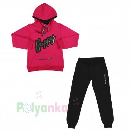 Wanex Спортивный костюм для девочки малиновое худи и чёрные спортивные штаны  - Картинка 6