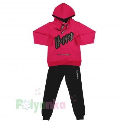 Wanex Спортивный костюм для девочки малиновое худи и чёрные спортивные штаны  - Картинка 7