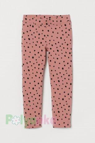 H&M Леггинсы для девочки нежно розовые в горох - Картинка 1
