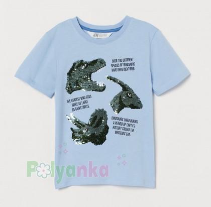 H&M Футболка для мальчика голубая с динозаврами в пайетках - Картинка 2