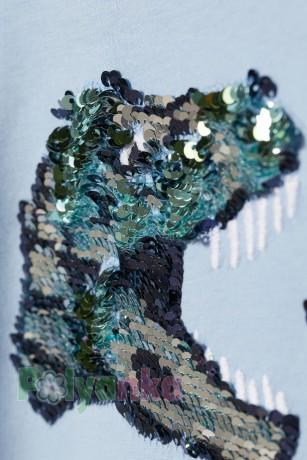 H&M Футболка для мальчика голубая с динозаврами в пайетках - Картинка 3