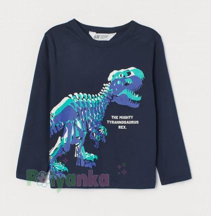 H&M Футболка с длинным рукавом для мальчика синяя с динозавром - Картинка 1