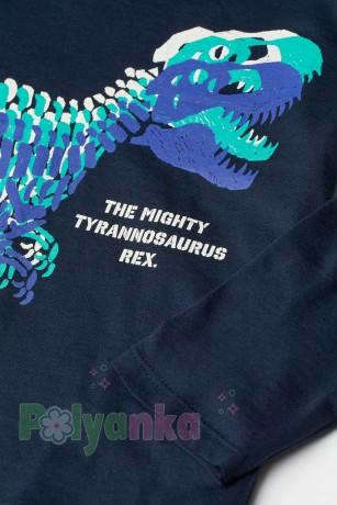 H&M Футболка с длинным рукавом для мальчика синяя с динозавром - Картинка 2