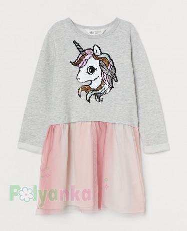 """H&M Платье с длинным рукавом для девочки серое """"Единорог в пайетках"""" - Картинка 1"""