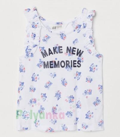 H&M Майка для девочки белая с цветочками - Картинка 1