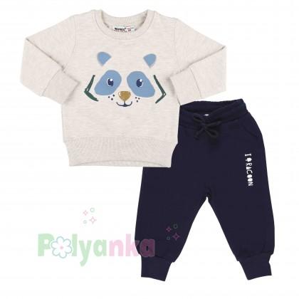 Wanex Костюм для мальчика бежевый свитшот с мишкой и синие штаны - Картинка 1