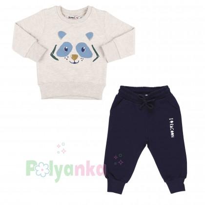 Wanex Костюм для мальчика бежевый свитшот с мишкой и синие штаны - Картинка 2
