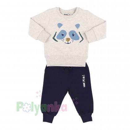 Wanex Костюм для мальчика бежевый свитшот с мишкой и синие штаны - Картинка 3