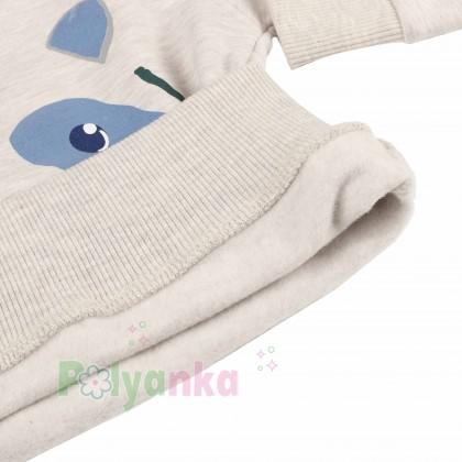 Wanex Костюм для мальчика бежевый свитшот с мишкой и синие штаны - Картинка 4