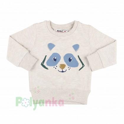 Wanex Костюм для мальчика бежевый свитшот с мишкой и синие штаны - Картинка 8